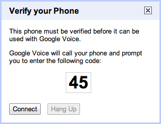 Google Voice Verify Screen