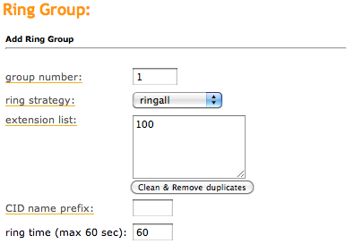 Ring Group Settings