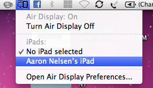 Air Display Menu Select