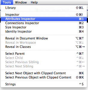 Tools -> Attributes Inspector