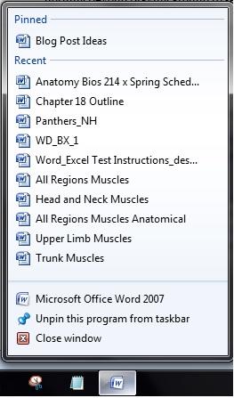 Pinned Taskbar List Screenshot