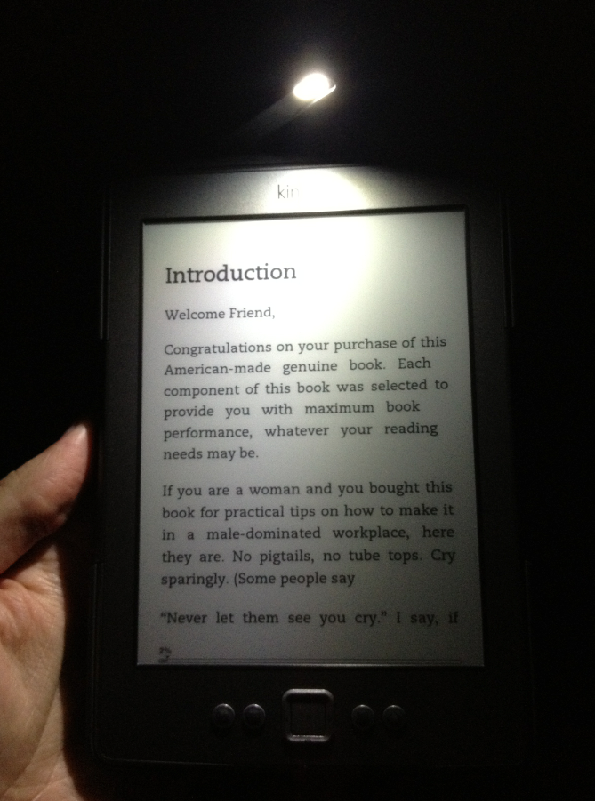 Kindle Lighted Case in a dark room